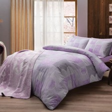 6a722a7217919 Двуспальное евро постельное белье TAC Shelly Lilac Ранфорс + плед