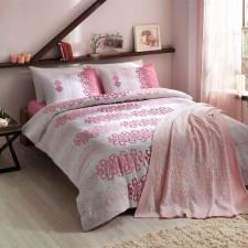 04d47087dcc97 Двуспальное евро постельное белье TAC Despina Pink Ранфорс + вязаный плед