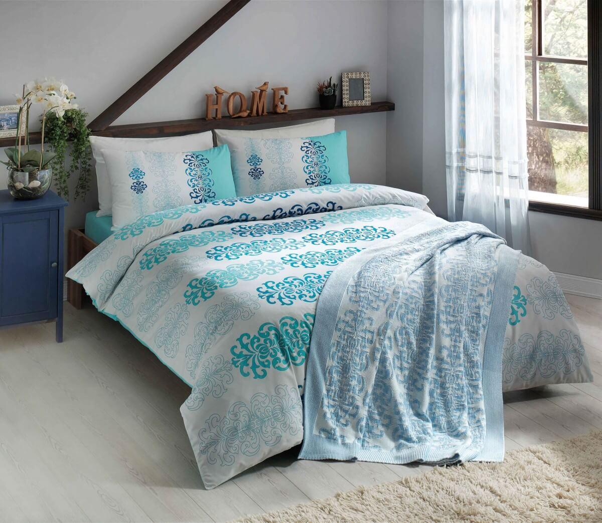 bf49712564902 Двуспальное евро постельное белье TAC Despina Turquoise Ранфорс + вязаный  плед